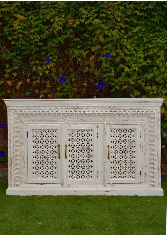Distressed White Hand Carved Timber Sideboard Cabinet