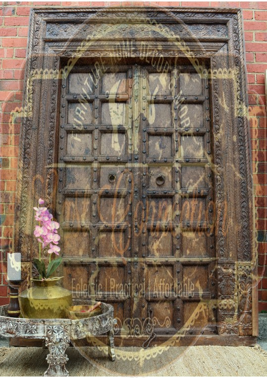 Hand Carved Timber Antique Indian Studded Door