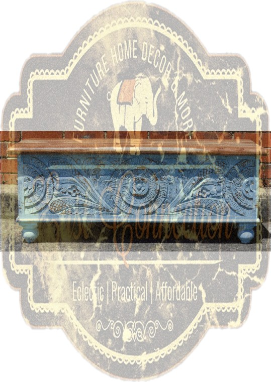 Hand Carved Distressed Blue Floral Blanket Box