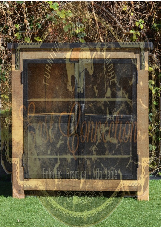 Vintage Industrial Metal Glass Door Timber Cabinet
