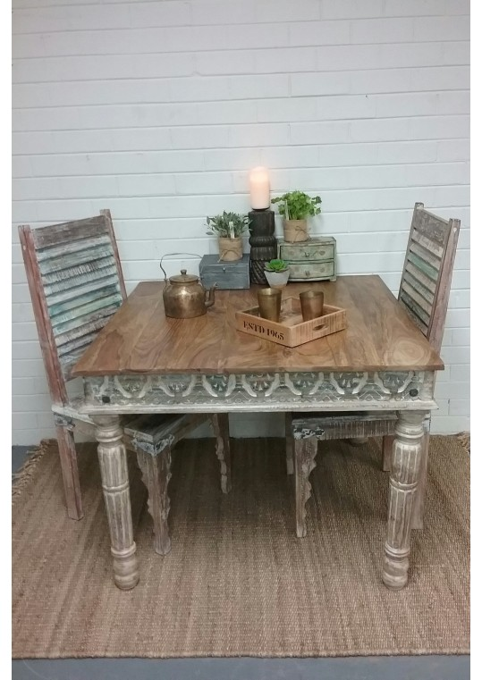 Teak Top Shabby Chic Dining Table (4 Seat)
