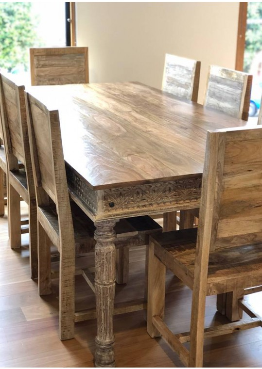 Hand Carved Shabby Chic Dining Table - 6 seat