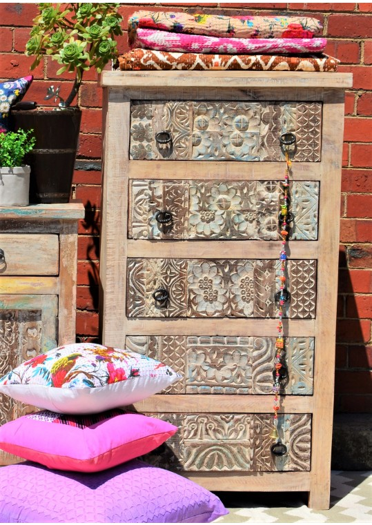 Tall Hand Carved Shabby Chic Tallboy Dresser Drawers