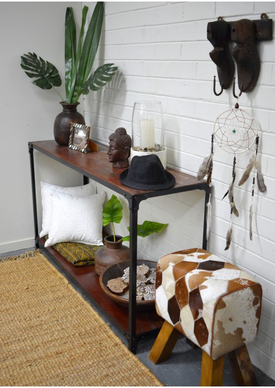 Vintage Industrial Metal & Timber Console Shelf Hall Table