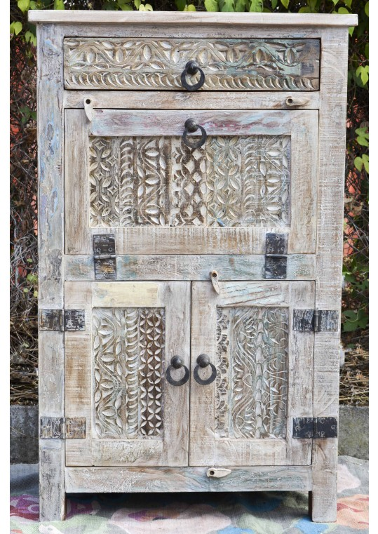 Handcarved French Country Shabby Chic Buffet Bar Cabinet