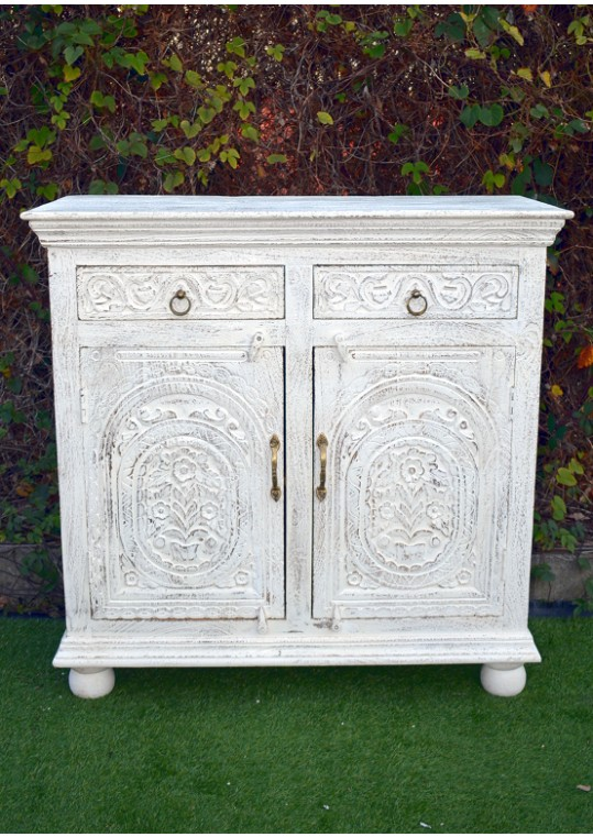 White Sandblasted French Provincial Shabby Chic Sideboard Cabinet