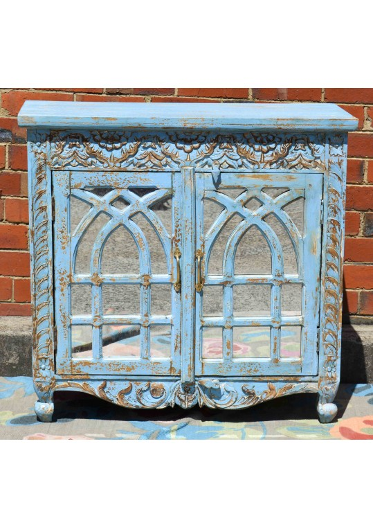 Blue Mirror Door Carved French Provincial Sideboard
