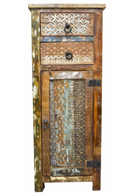 Recycled Timber Hand Carved Tallboy Cabinet
