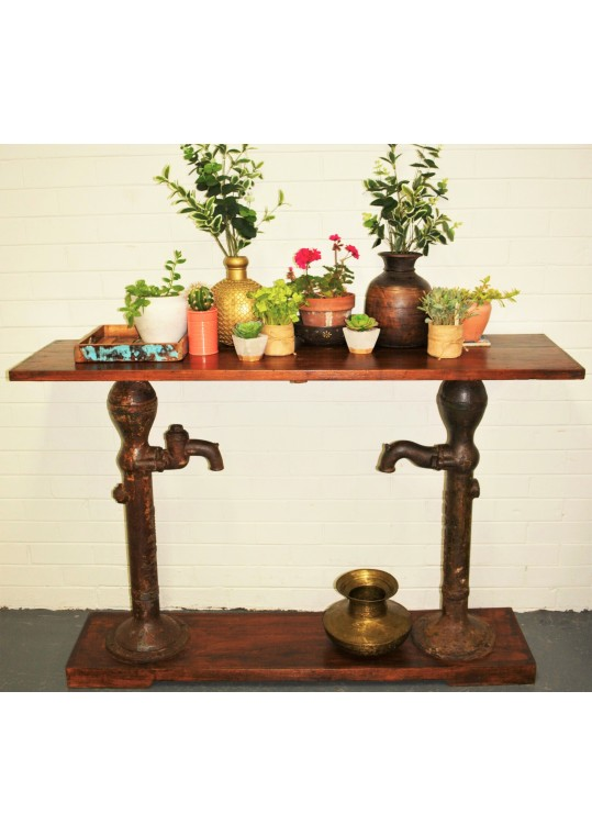 Reclaimed Timber Industrial Water Pump Console  Hall Table