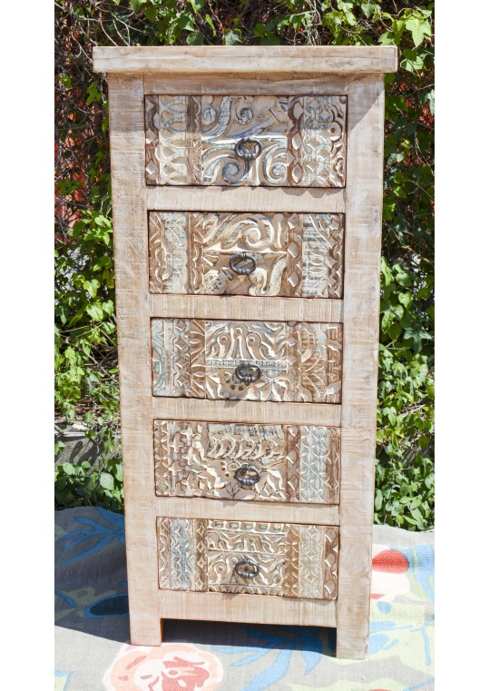 Tall Hand Carved Shabby Chic Drawer Unit