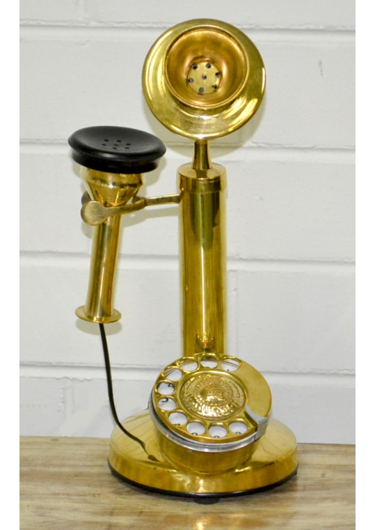 Antique Candlestick Telephone with Rotary Dial