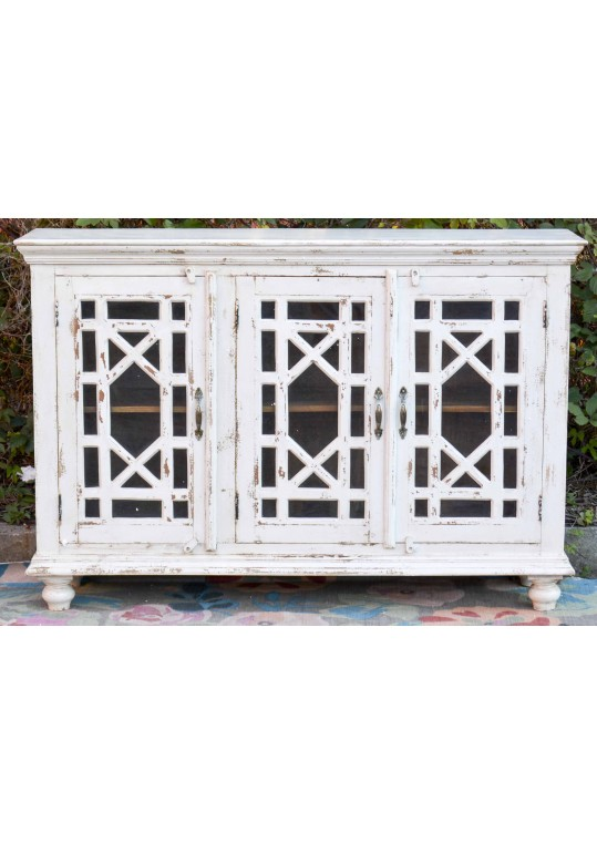 White Glass Door French Provincial Buffet Sideboard