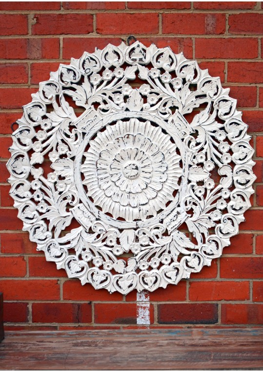 Round White Hand Carved Antique Timber Wall Art
