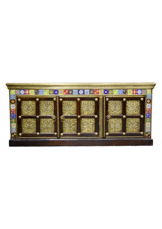 Indian Teak Brass & Tile Fitted Entertainment Unit