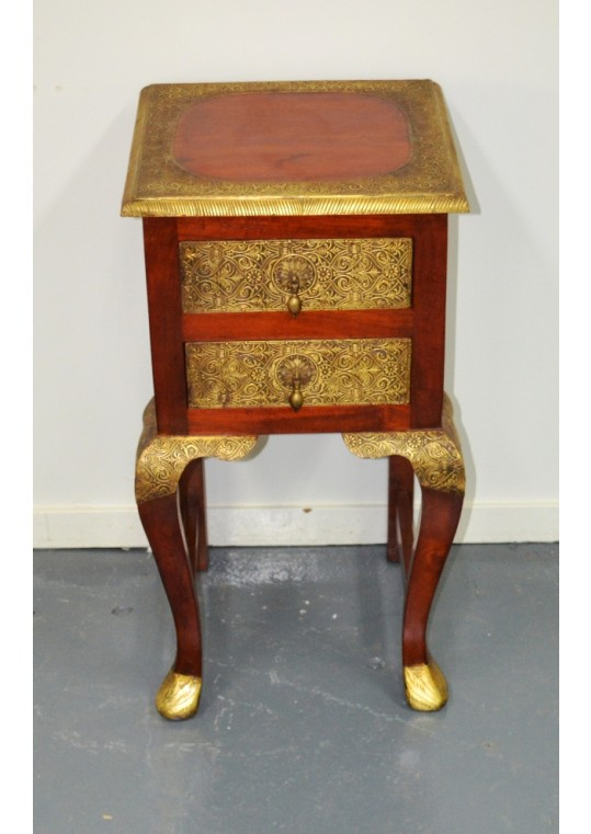 Indian Brass fitted 2 drawer side table