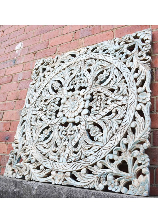 Hand Carved Antique Timber Floral Wall Art Panel