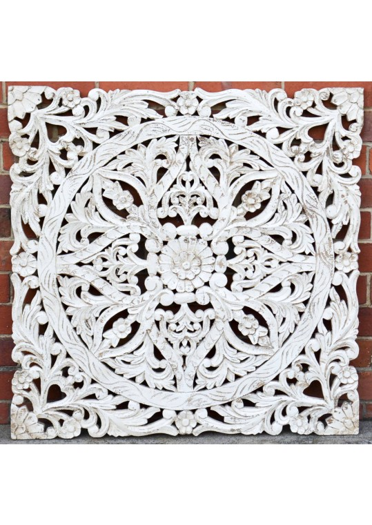 Hand Carved Antique Timber Panel Floral Wall Art
