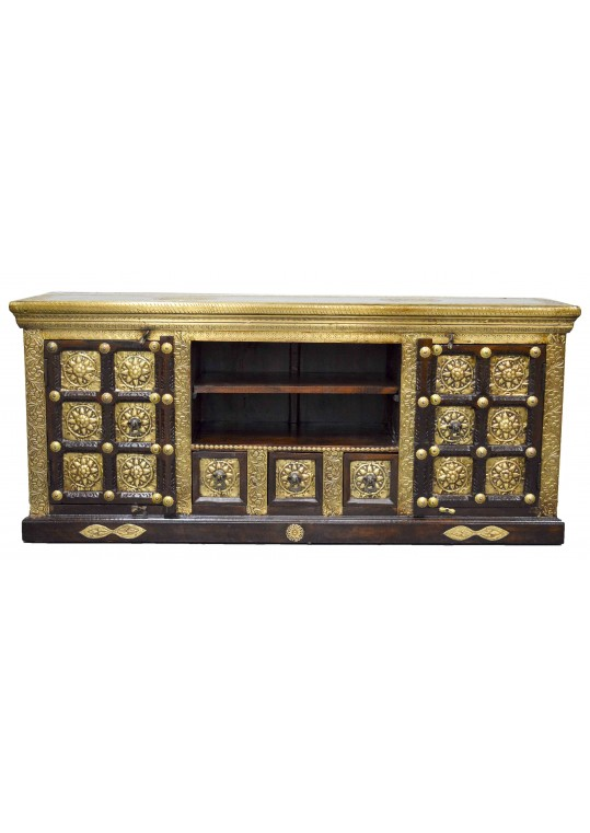 Embossed Brass Indian Timber Entertainment Unit