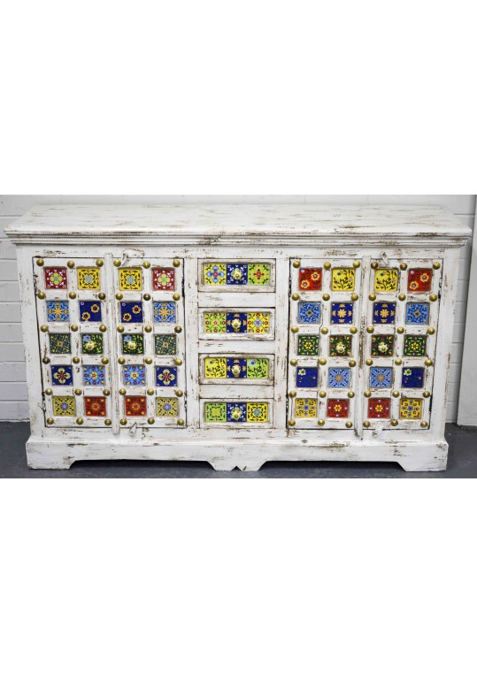 Moroccan Ceramic Tile Shabby Chic Indian Country Sideboard