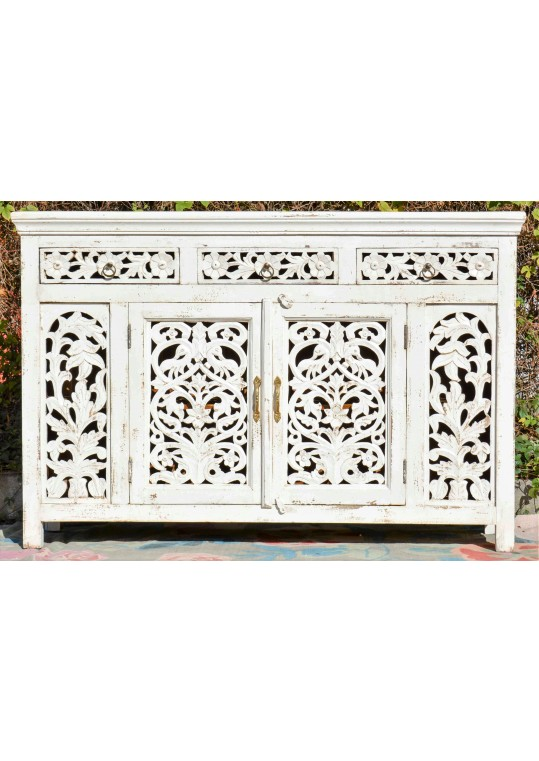 French Provincial White Shabby Chic Hand Carved Sideboard