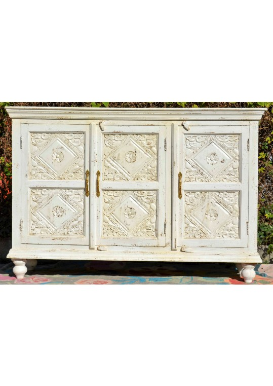 White Shabby Chic Carved Reclaimed Timber Sideboard
