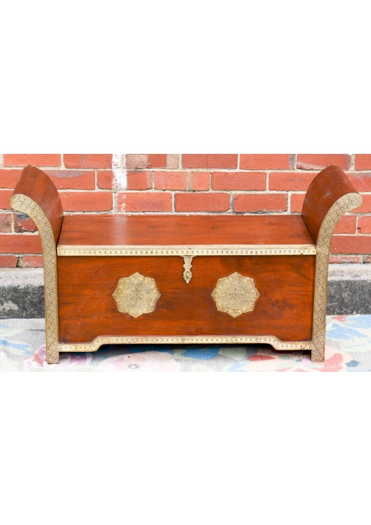 Indian Teak Embossed Brass Storage Roman Seat