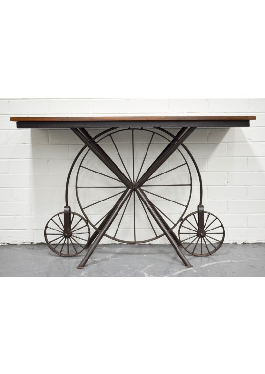 Recycled Timber Metal Wheel Console Hall Table