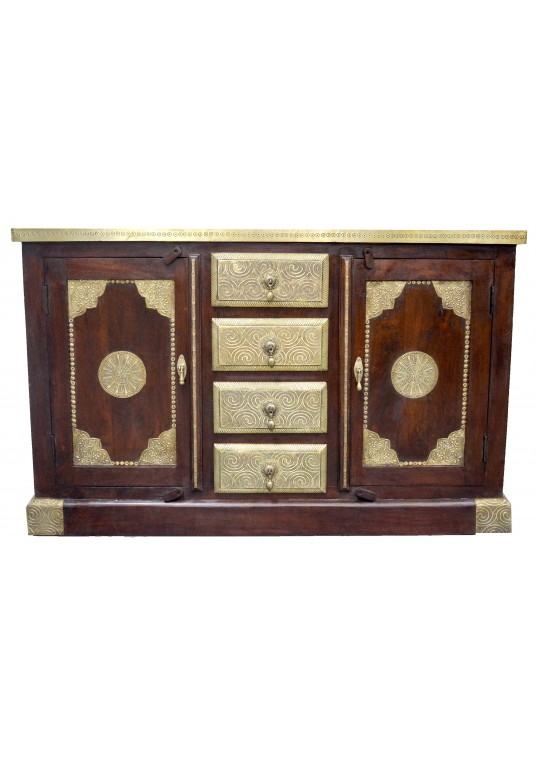 Indian Timber & Brass Fitted Sideboard