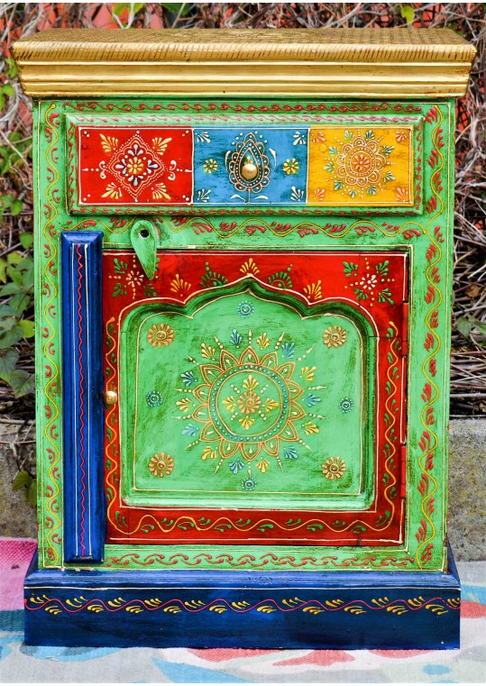 Indian Hand Painted Green Boho Bedside Table