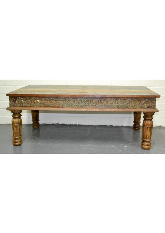 Recycled Timber Hand Carved Coffee Table