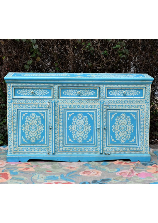 Blue Hand Painted Bone Inlay Buffet Sideboard