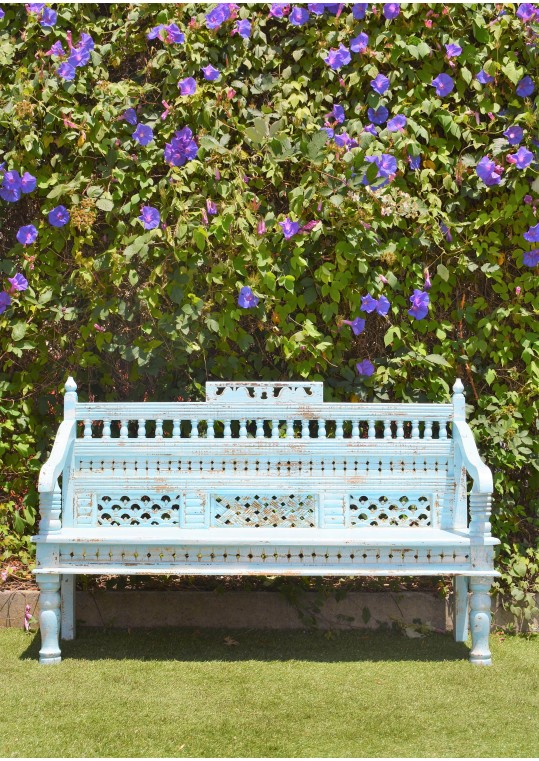 Vintage Blue Rustic Hand Carved Timber Indian Bench