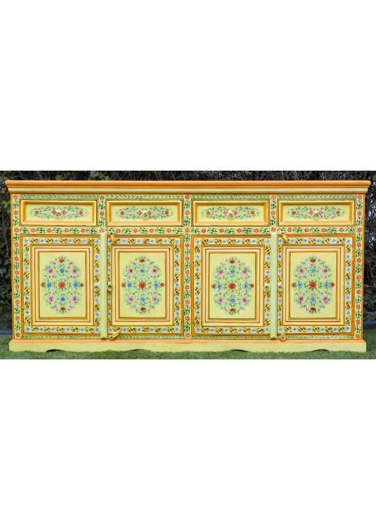 Yellow Hand Painted Indian Floral Pattern Buffet Sideboard