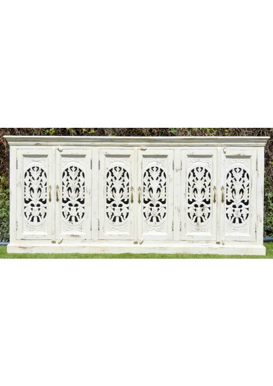 White Shabby Chic Painted French Country Long Sideboard