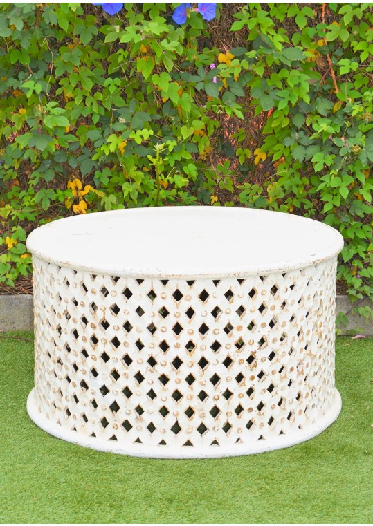 Hand Carved Timber White Bamileke Large Coffee Table