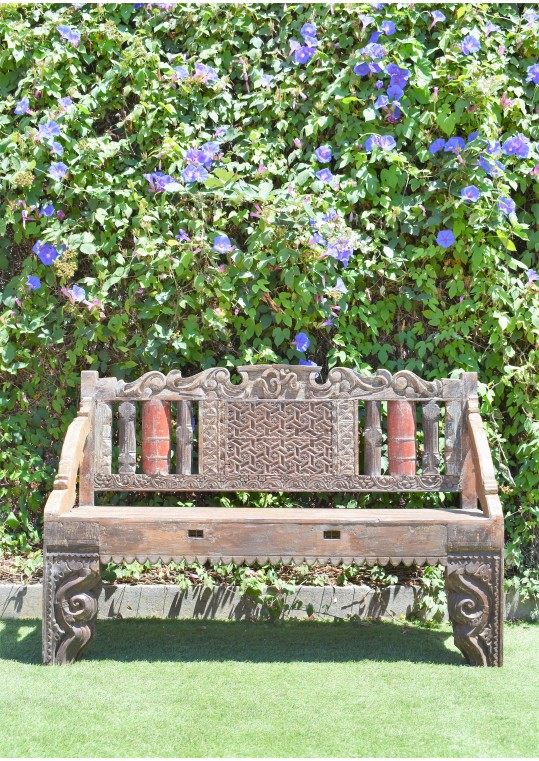 Hand Carved Recycled Timber Bench Seat