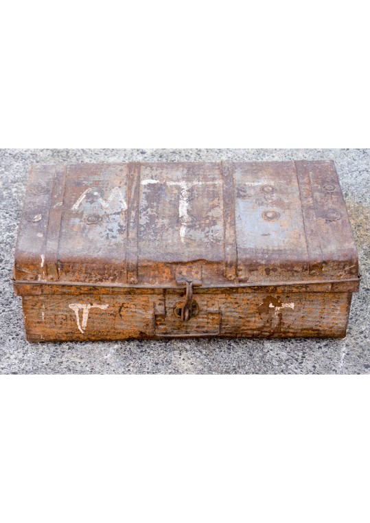 Rustic Orange Vintage Metal Travel Trunk Storage Case