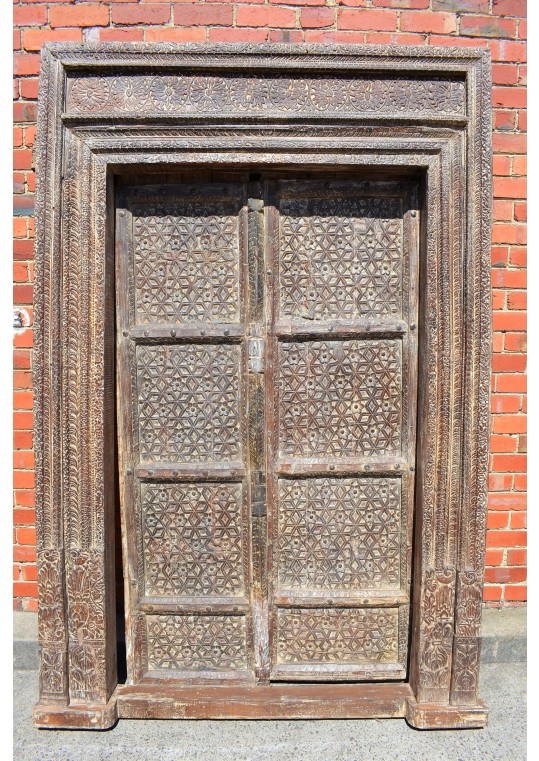 Hand Carved Timber Floral & Geometric Pattern Antique Indian Door