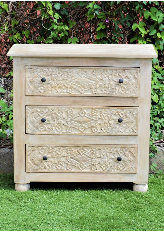 Shabby Chic Hand Carved Floral Drawer Unit