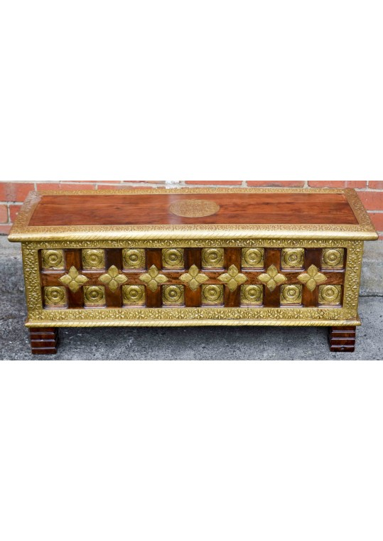 Indian Antique Embossed Brass Blanket Box