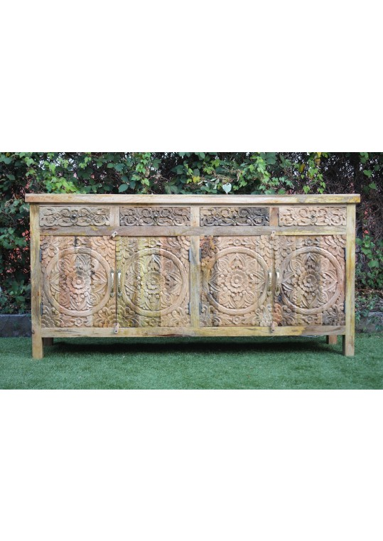 Distressed French Provincial Floral Mandala Sideboard