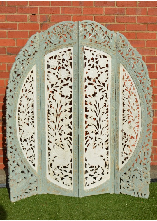Shabby Chic Round Hand Carved Indian Peacock Timber Screen