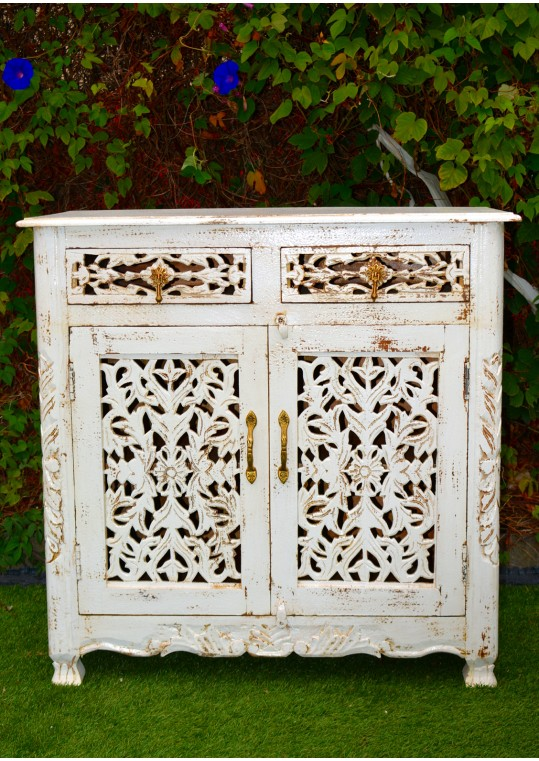 White Hand Carved French Provincial Sideboard Cabinet
