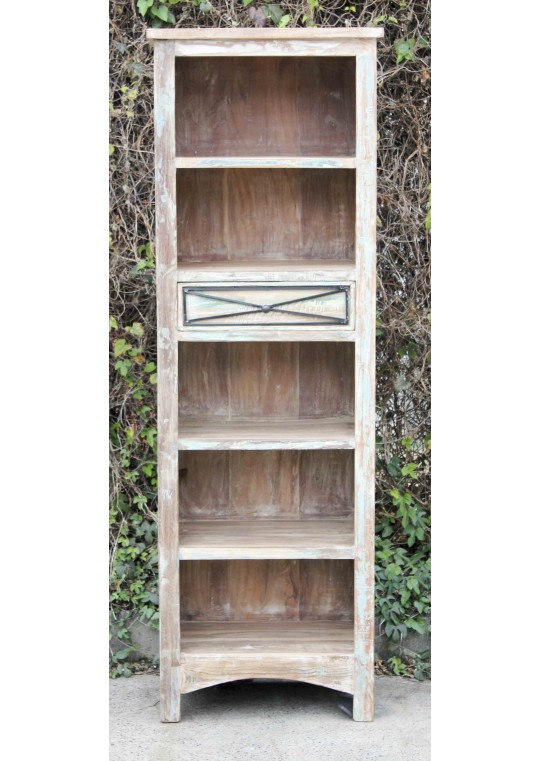 Whitewashed Timber Country Display Shelf Cabinet