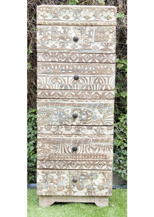 Hand carved Front Shabby Chic Timber Tallboy
