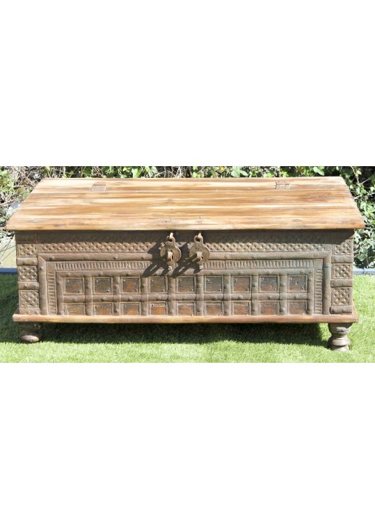 Reclaimed Timber Antique Metal Indian Blanket Box