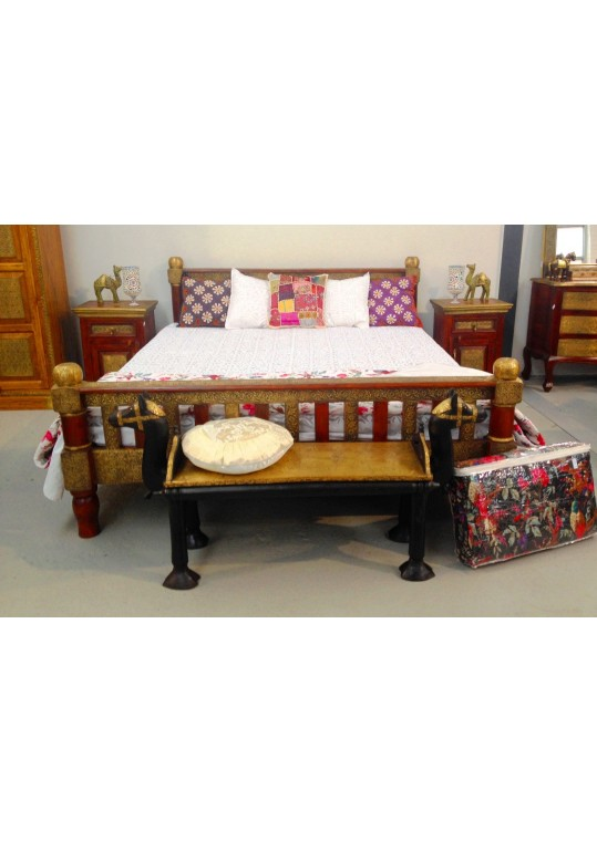 Indian Teak Embossed Brass fitted bed (King Size)