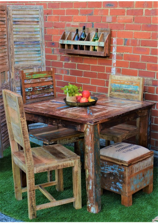 Reclaimed Timber Distressed Country Dining Table (4 Seat)