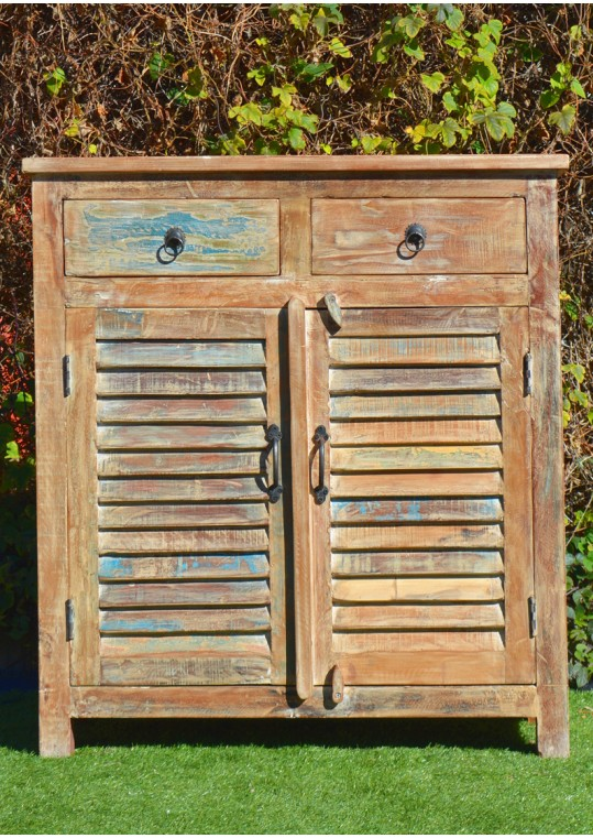 Shabby Chic Reclaimed Timber Shutter Sideboard Cabinet