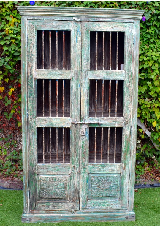 Handmade Reclaimed Timber & Iron Antique Painted Display Cabinet